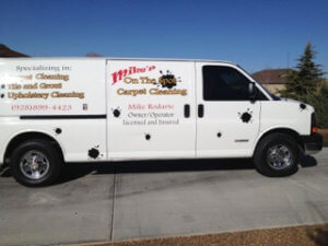 Mike's on the Spot Carpet Cleaning van can arrive on time to serve you